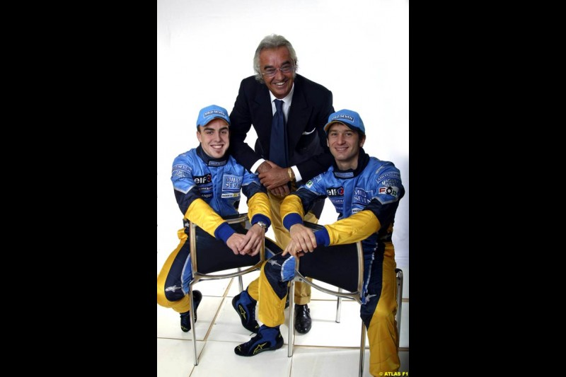 Fernando Alonso, Flavio Briatore and Jarno Trulli. The 2003 Renault challenger, the R23, unveiled in Lucerne, Switzerland. January 20th 2003.