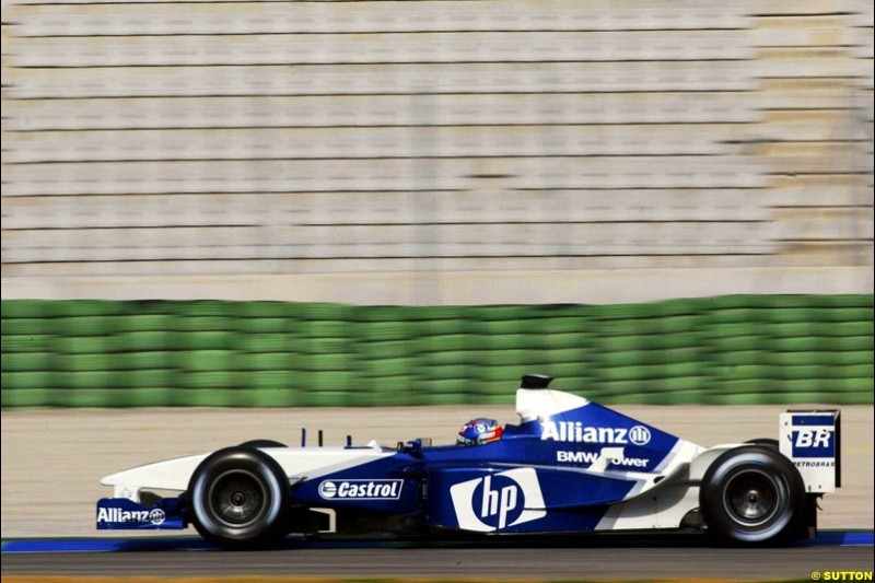 Juan Pablo Montoya, Williams, during testing at the Ricardo Tormo circuit. Valencia, Spain. 13th February, 2003.