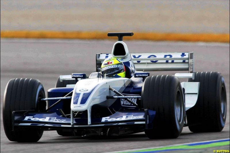 Ralf Schumacher, Williams, during testing at the Ricardo Tormo circuit. Valencia, Spain. 13th February, 2003.