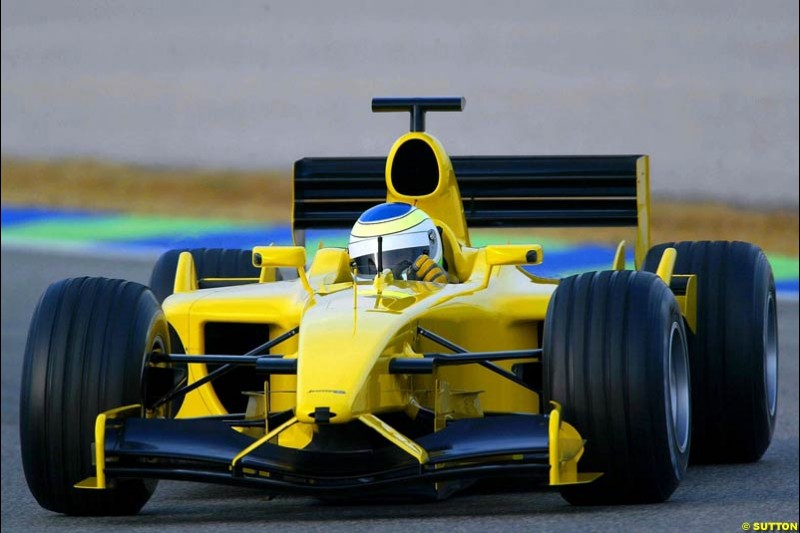 Giancarlo Fiscichella, Jordan, during testing at the Ricardo Tormo circuit. Valencia, Spain. 13th February, 2003.