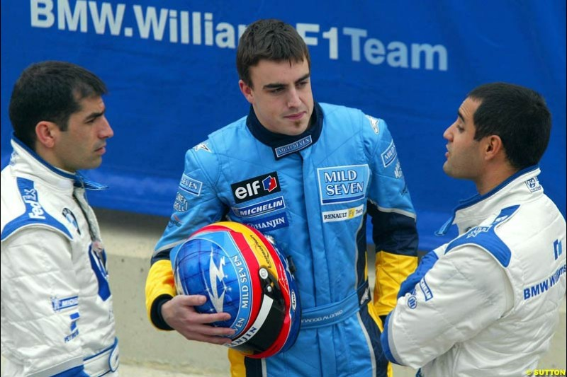 Marc Gene, Fernando Alonso and Juan Pablo Montoya, at the Ricardo Tormo circuit. Valencia, Spain. 12th February, 2003.