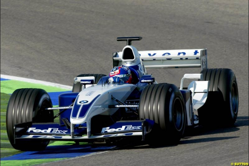 Juan Pablo Montoya, Williams, during testing at the Ricardo Tormo circuit. Valencia, Spain. 12th February, 2003.