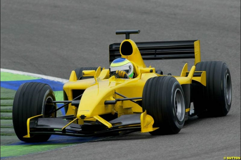 Giancarlo Fisichella, Jordan, during testing at the Ricardo Tormo circuit. Valencia, Spain. 12th February, 2003.
