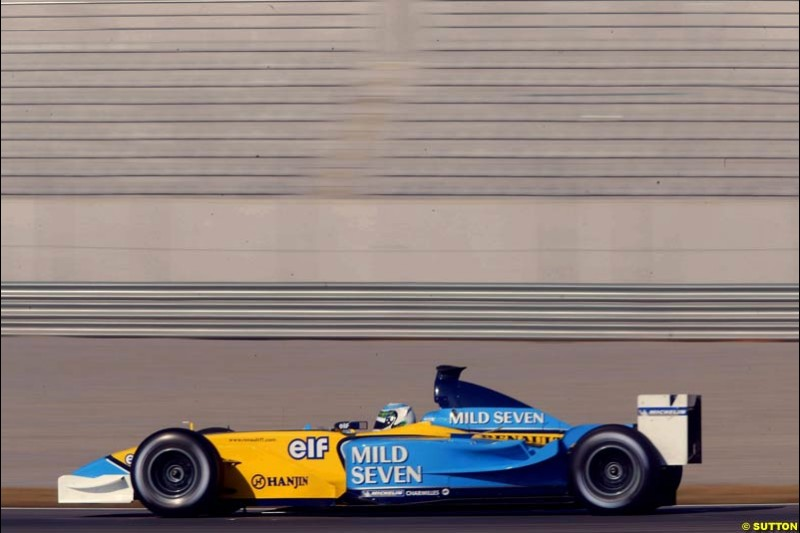 Allan McNish, Renault, during testing at the Ricardo Tormo circuit. Valencia, Spain. 11th February, 2003.