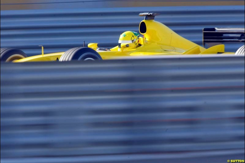 Ralph Firman, Jordan, during testing at the Ricardo Tormo circuit. Valencia, Spain. 11th February, 2003.