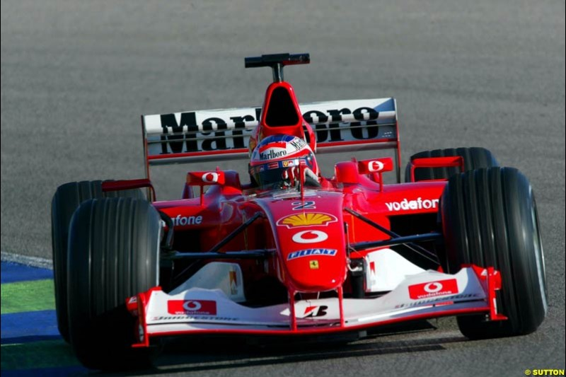 Rubens Barrichelo, Ferrari, during testing at the Ricardo Tormo circuit. Valencia, Spain. 11th February, 2003.