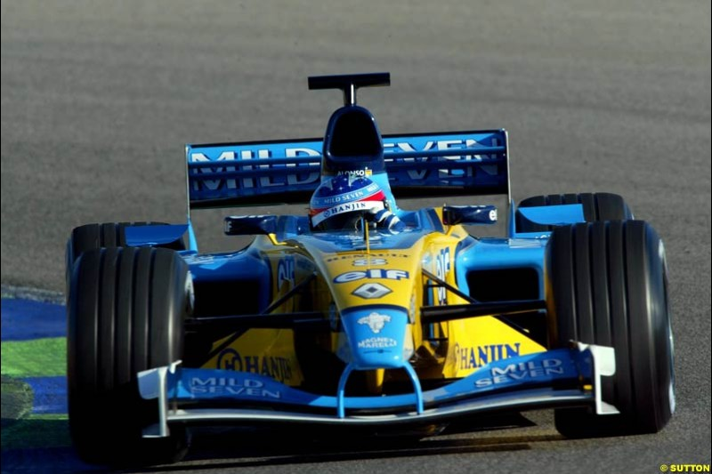 Fernando Alonso, Renault, during testing at the Ricardo Tormo circuit. Valencia, Spain. 11th February, 2003.