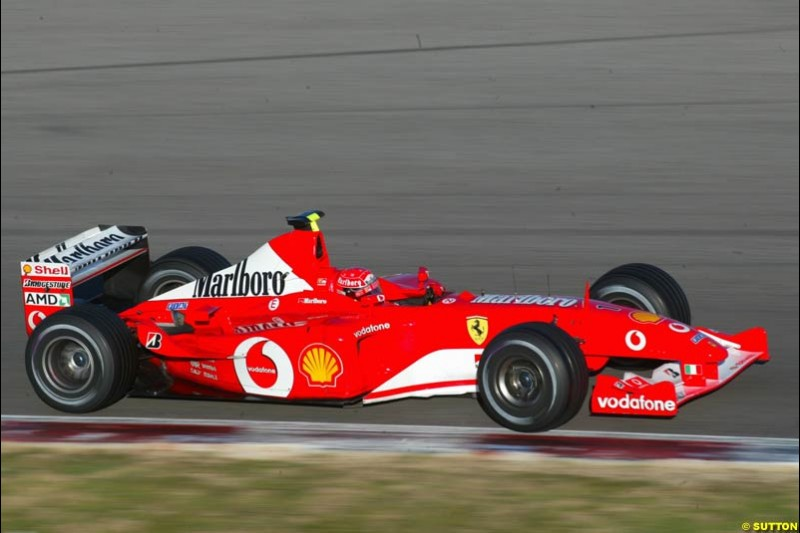 Michael Schumacher, Ferrari, at the Circuit de Catalunya. Formula One Testing, Barcelona, Spain, 4 February 2003.