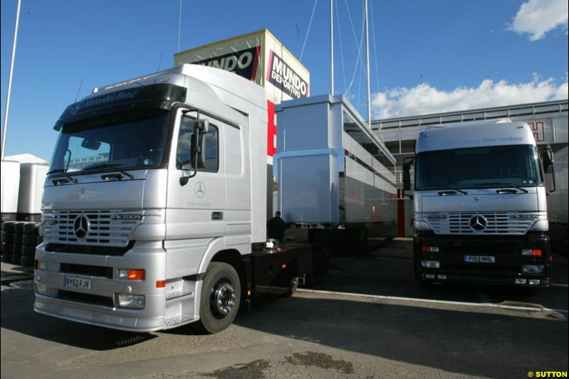 The McLaren team have new trucks. Formula One Testing, Barcelona, Spain, 4 February 2003.