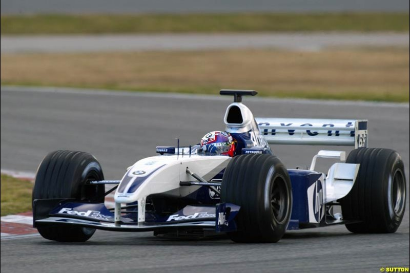 Juan Pablo Montoya, Williams FW25, at the Circuit de Catalunya. Formula One Testing, Barcelona, Spain, 4 February 2003.