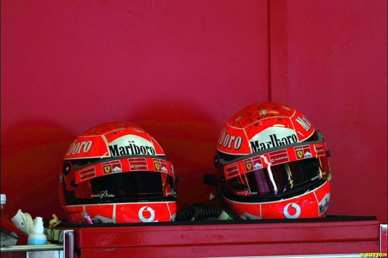 Michael Schumacher's helmets. Formula One Testing, Barcelona, Spain, 4 February 2003.