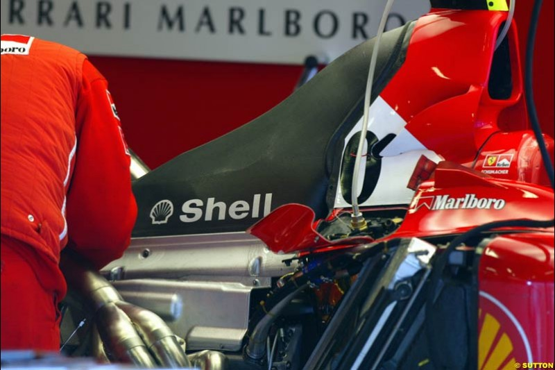 Under the Ferrari F2002 engine cover. Formula One Testing, Barcelona, Spain, 4 February 2003.
