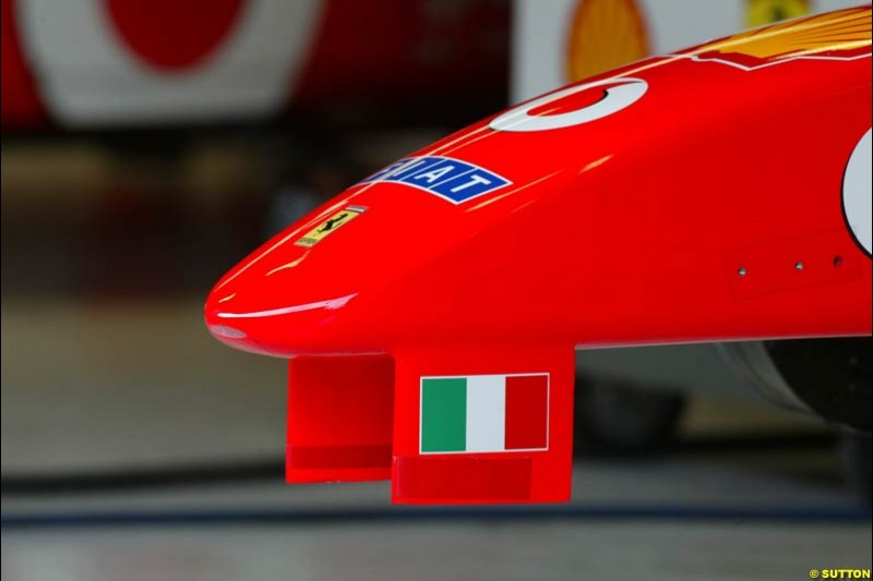 A Ferrari nose during testing at the Circuit de Catalunya. Barcelona, Spain. February 3rd, 2003.