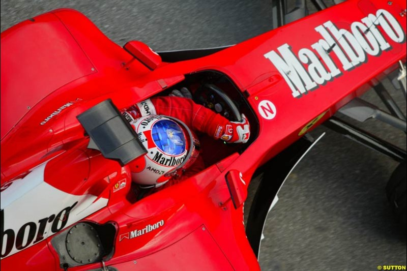 Rubens Barrichello, Ferrari, during testing at the Circuit de Catalunya. Barcelona, Spain. February 3rd, 2003.