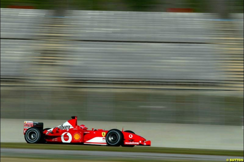 Michael Schumacher, Ferrari, during testing at the Circuit de Catalunya. Barcelona, Spain. February 3rd, 2003.