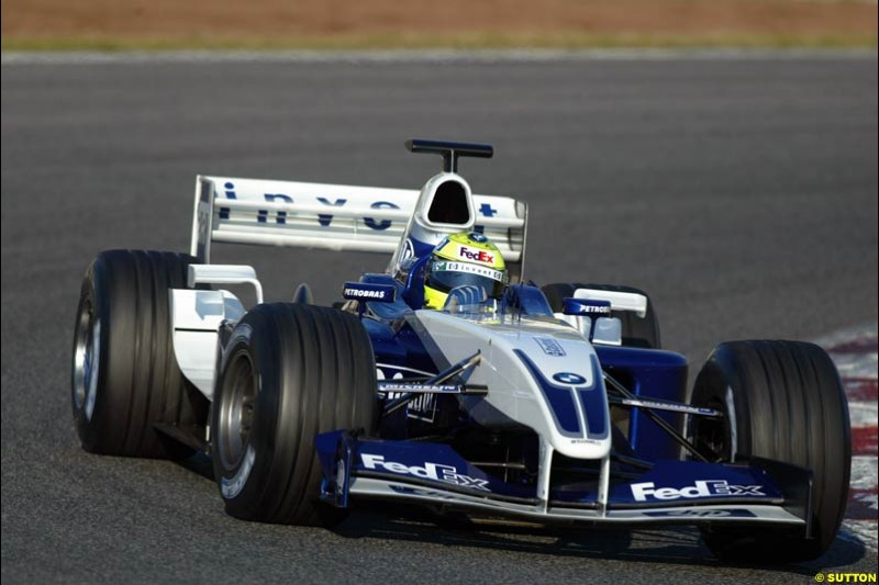 Ralf Schumacher, Williams FW25, during testing at the Circuit de Catalunya. Barcelona, Spain. February 3rd, 2003.