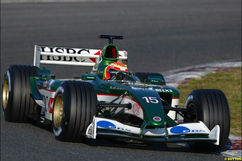 Antonio Pizzonia, Jaguar, during testing at the Circuit de Catalunya. Barcelona, Spain. February 3rd, 2003.