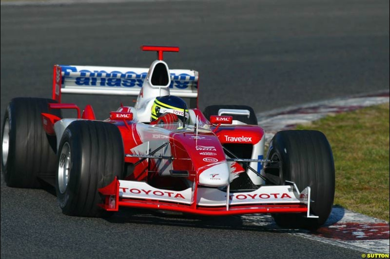 Cristiano da Matta, Toyota, during testing at the Circuit de Catalunya. Barcelona, Spain. February 3rd, 2003.