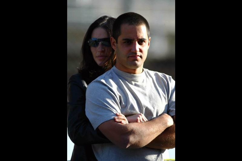 Juan Pablo Montoya, Williams, stands with wife Connie, during testing at the Circuit de Catalunya. Barcelona, Spain. February 1st-5th, 2003.