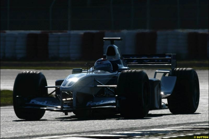 Marc Gene, Williams, during testing at the Circuit de Catalunya. Barcelona, Spain. February 1st-5th, 2003.