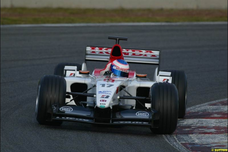 Jenson Button, BAR, during testing at the Circuit de Catalunya. Barcelona, Spain. February 1st-5th, 2003.
