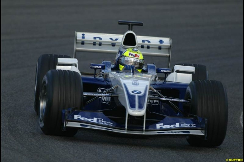 Ralf Schumacher, Williams, during testing at the Circuit de Catalunya. Barcelona, Spain. February 1st-5th, 2003.