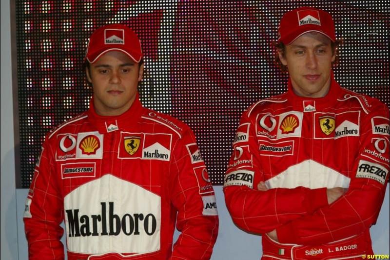 Felipe Massa and Luca Badoer. Ferrari launch the 2003 challenger, the F2003-GA, at Maranello, Italy. February 7th 2003.