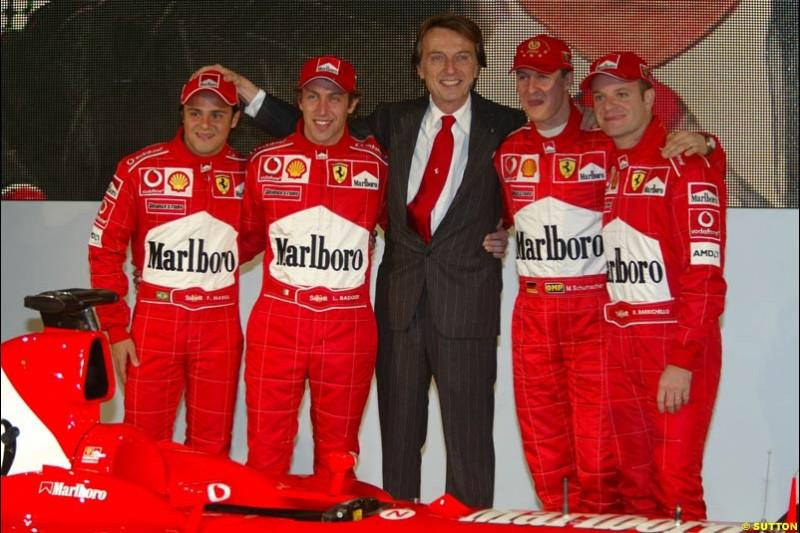 Felipe Massa, Luca Badoer, Luca di Montezemolo, Michael Schumacher, Rubens Barrichello. Ferrari launch the 2003 challenger, the F2003-GA, at Maranello, Italy. February 7th 2003.