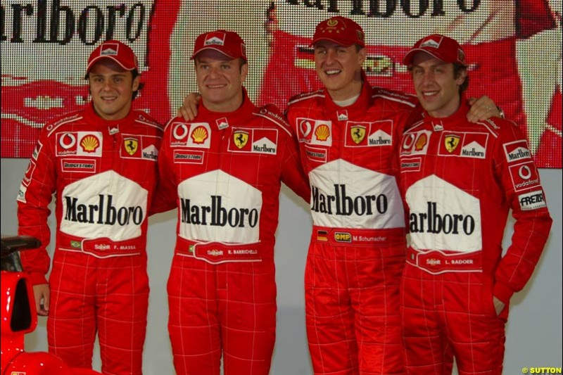 Felipe Massa, Rubens Barrichello, Michael Schumacher, Luca Badoer. Ferrari launch the 2003 challenger, the F2003-GA, at Maranello, Italy. February 7th 2003.