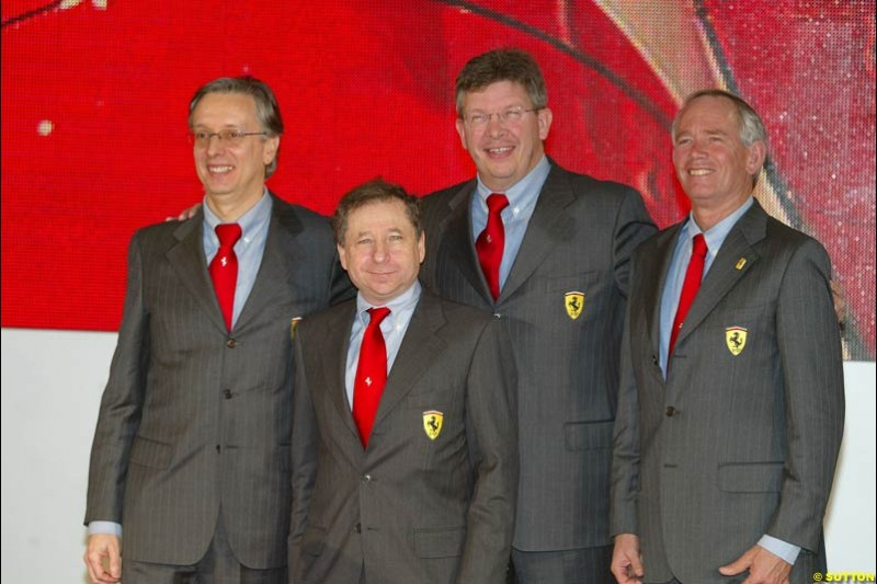The Ferrari team chiefs. Ferrari launch the 2003 challenger, the F2003-GA, at Maranello, Italy. February 7th 2003.