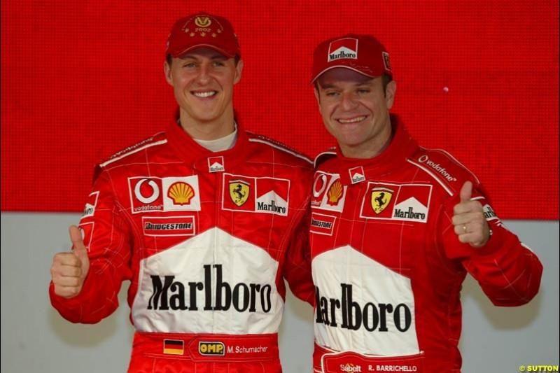 Michael Schumacher and Rubens Barrichello. Ferrari launch the 2003 challenger, the F2003-GA, at Maranello, Italy. February 7th 2003.