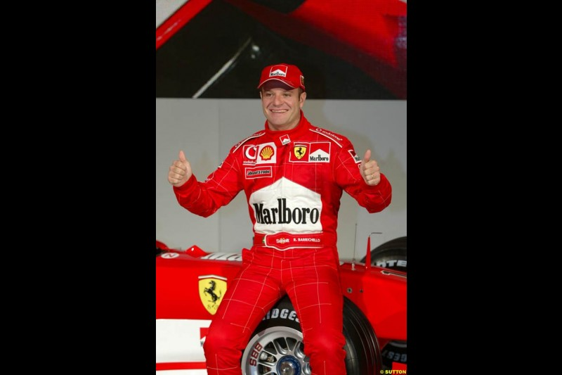 Rubens Barrichello. Ferrari launch the 2003 challenger, the F2003-GA, at Maranello, Italy. February 7th 2003.