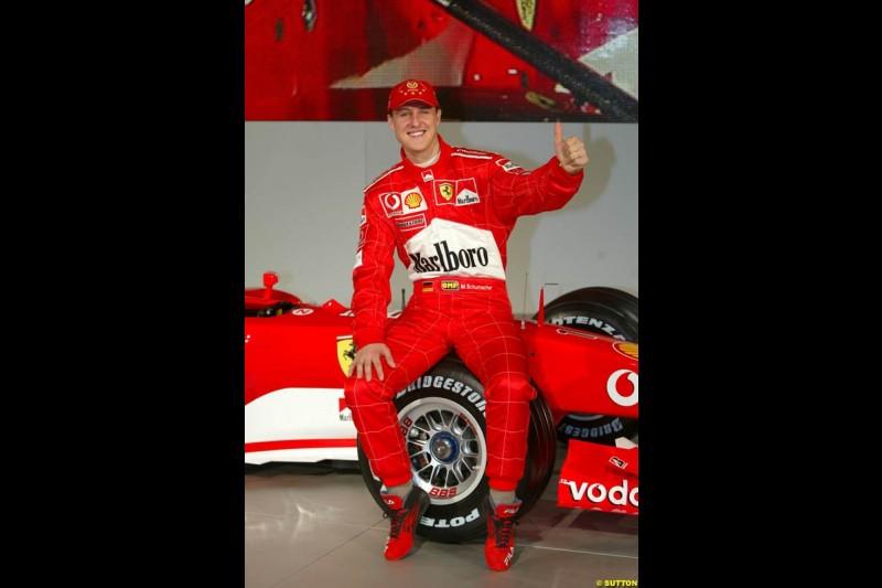 Michael Schumacher. Ferrari launch the 2003 challenger, the F2003-GA, at Maranello, Italy. February 7th 2003.