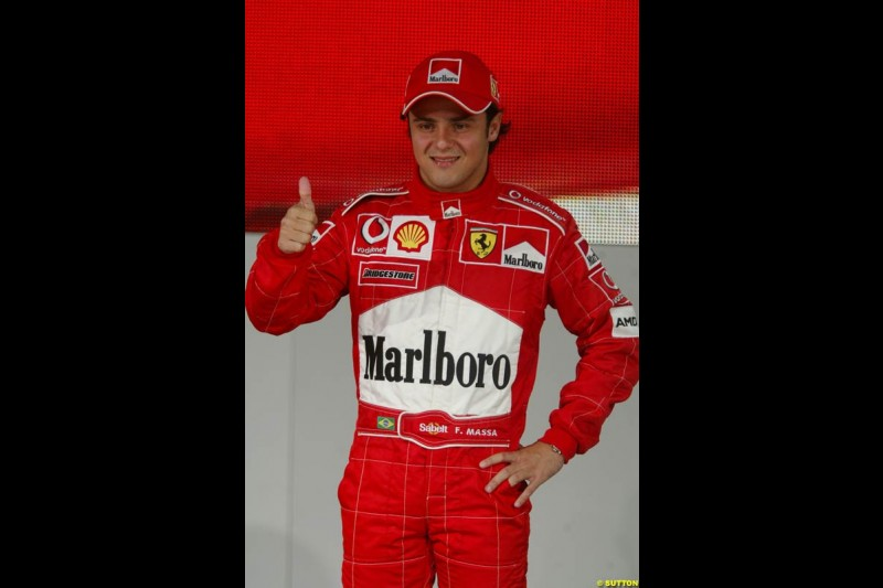 Felipe Massa. Ferrari launch the 2003 challenger, the F2003-GA, at Maranello, Italy. February 7th 2003.