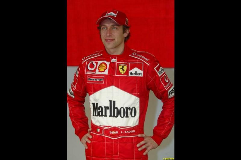Luca Badoer. Ferrari launch the 2003 challenger, the F2003-GA, at Maranello, Italy. February 7th 2003.