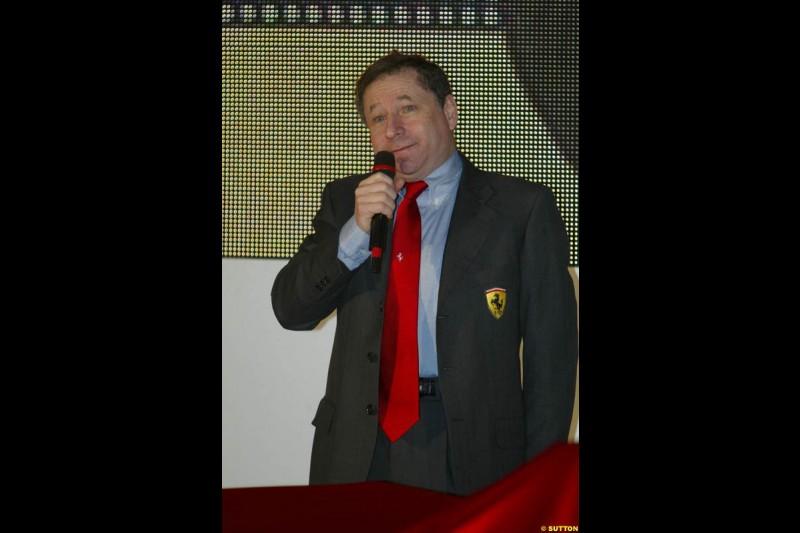 Jean Todt. Ferrari launch the 2003 challenger, the F2003-GA, at Maranello, Italy. February 7th 2003.