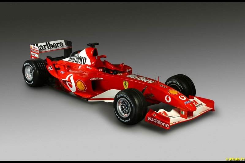 The new 2003 Ferrari challenger, the F2003-GA. Ferrari launch, Maranello, Italy. February 7th 2003.