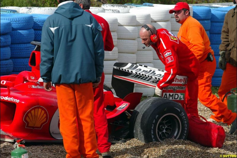 The Ferrari F2003-GA, after test driver Luca Badoer crashed heavily during testing at Jerez, Spain. 28th February 2003.