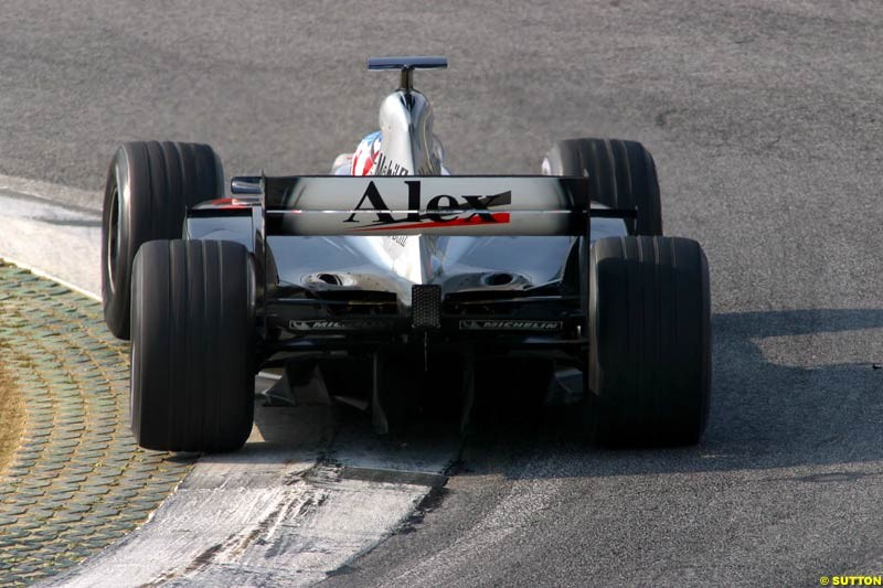 Alex Wurz, McLaren, during testing at the Imola circuit in Italy. 27th February, 2003.