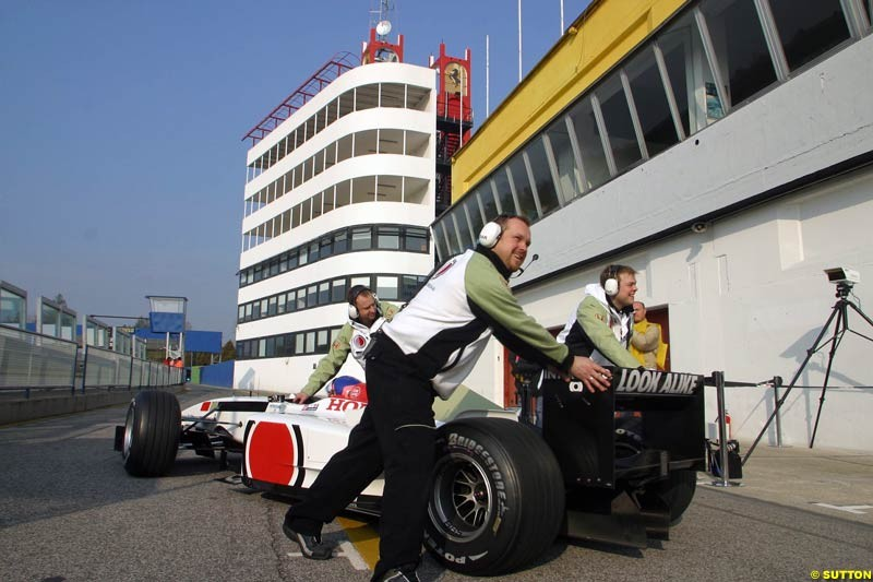 Jacques Villeneuve, BAR, during testing at the Imola circuit in Italy. 27th February, 2003.