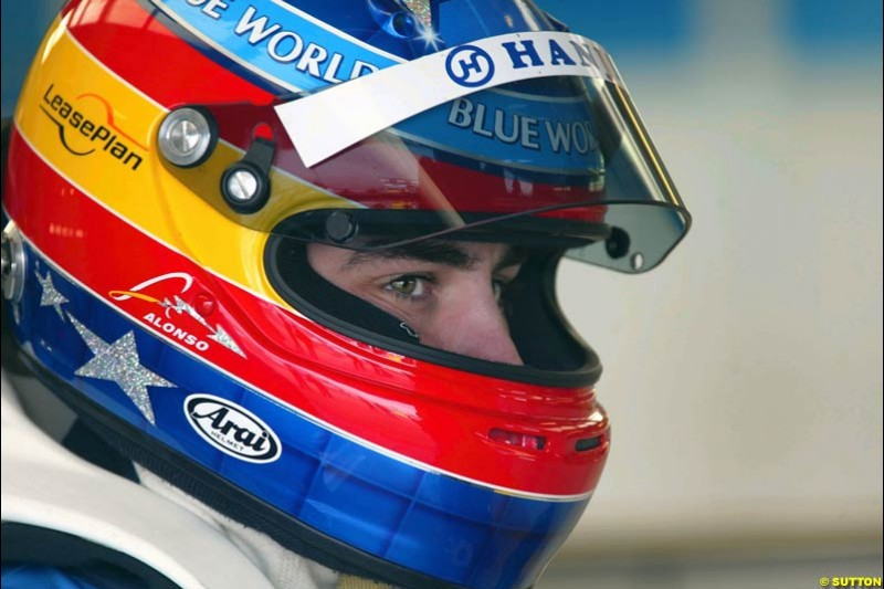 Fernando Alonso, Renault. Testing at Silverstone, England. 26th February 2003.
