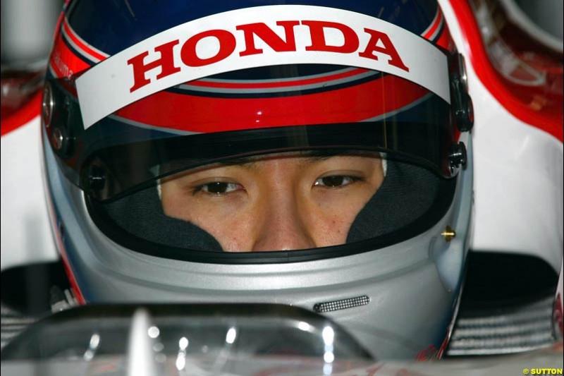 Takuma Sato, BAR. Testing at Silverstone, England. 26th February 2003.