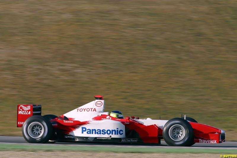 Cristiano da Matta, Toyota, during testing at Imola, Italy. 26th February 2003.