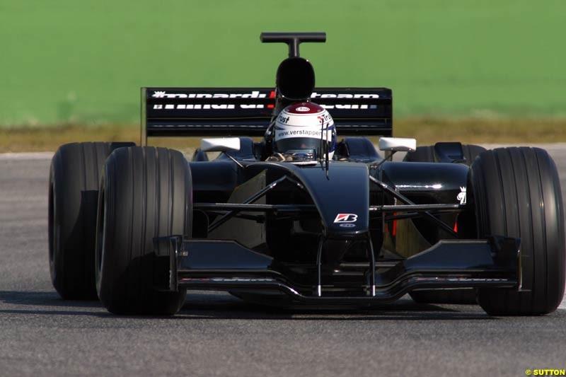 Jos Verstappen, Minardi, during testing at Imola, Italy. 26th February 2003.