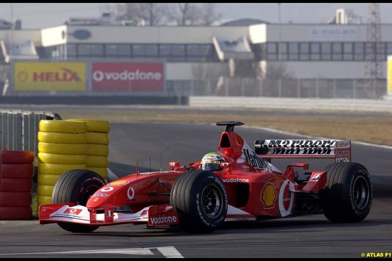 Felipe Massa, Ferrari, during testing at Fiorano, Italy. February 25th 2003.