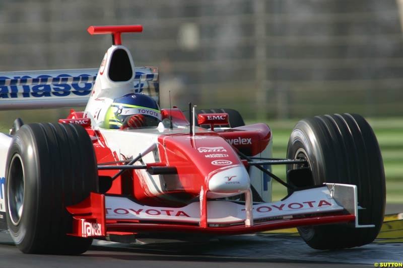 Cristiano da Matta, Toyota, during testing at Imola, Italy. 25th February 2003.