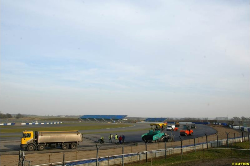 Silverstone have created a new chicane after Luffield corner and are amending other parts of the GP circuit. Formula One Testing, Silverstone, England, 25th February 2003.