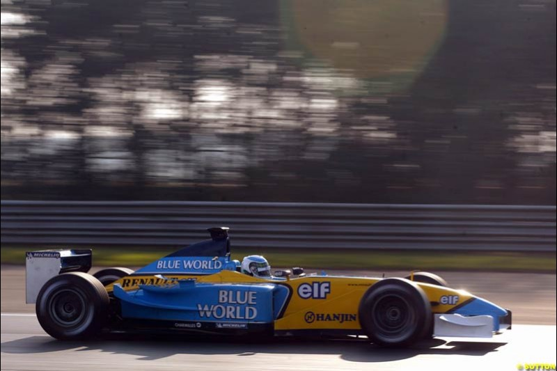 Allan McNish, Renault, during testing at Silverstone, England. 25th February 2003.