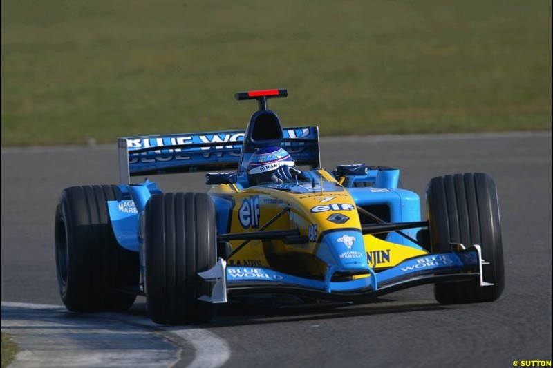 Jarno Trulli, Renault, during testing at Silverstone, England. 25th February 2003.