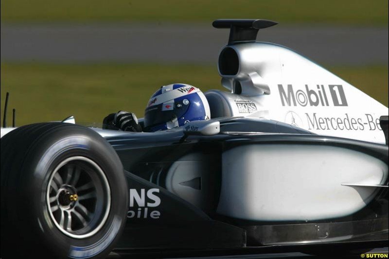 David Coulthard, McLaren, during testing at Silverstone, England. 25th February 2003.